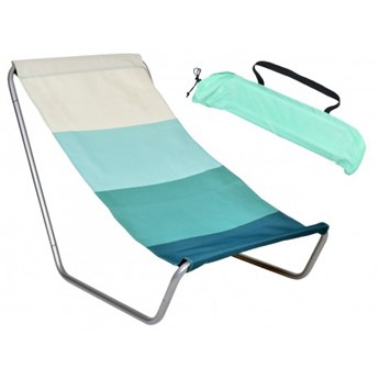 Leżak turystyczny plażowy składany Olek - niebieskie pasy