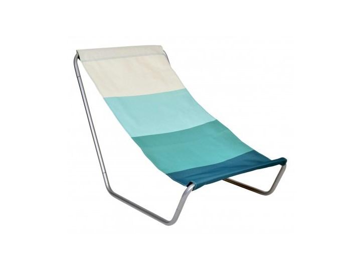 Leżak turystyczny plażowy składany Olek - niebieskie pasy Metal Składane Kolor Turkusowy