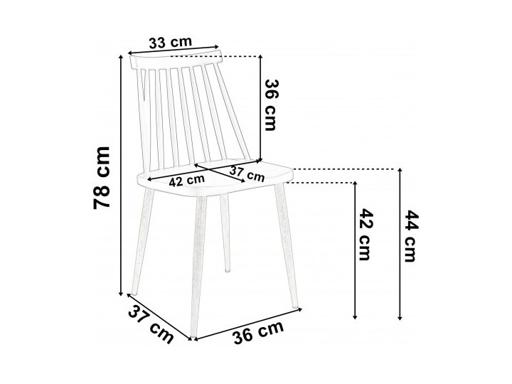 Krzesło retro K-KEN BLACK Pomieszczenie Jadalnia Metal Drewno Szerokość 33 cm Wysokość 36 cm Szerokość 42 cm Tworzywo sztuczne Głębokość 37 cm Wysokość 78 cm Kolor Czarny