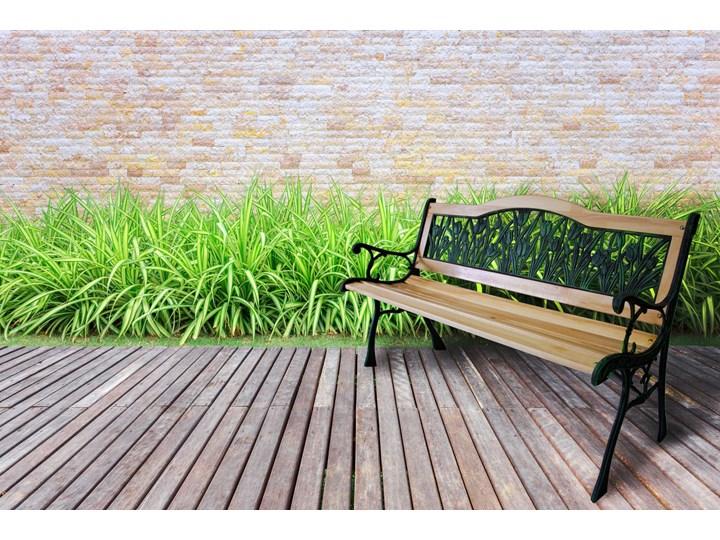 Ławka ogrodowa żeliwna TULIP Długość 120 cm Tworzywo sztuczne Z oparciem Styl Klasyczny Drewno Kolor Czarny
