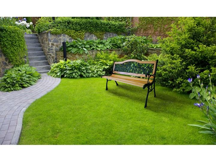 Ławka ogrodowa żeliwna TULIP Styl Klasyczny Długość 120 cm Z oparciem Drewno Tworzywo sztuczne Kolor Czarny