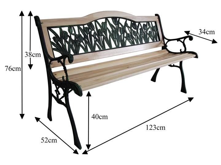 Ławka ogrodowa żeliwna TULIP Tworzywo sztuczne Długość 120 cm Drewno Z oparciem Kategoria Ławki ogrodowe Styl Klasyczny