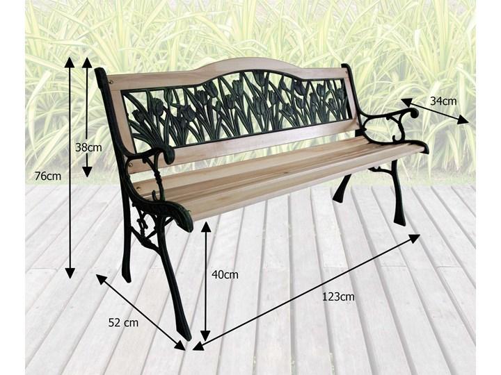 Ławka ogrodowa żeliwna TULIP Długość 120 cm Styl Klasyczny Drewno Tworzywo sztuczne Z oparciem Kolor Czarny