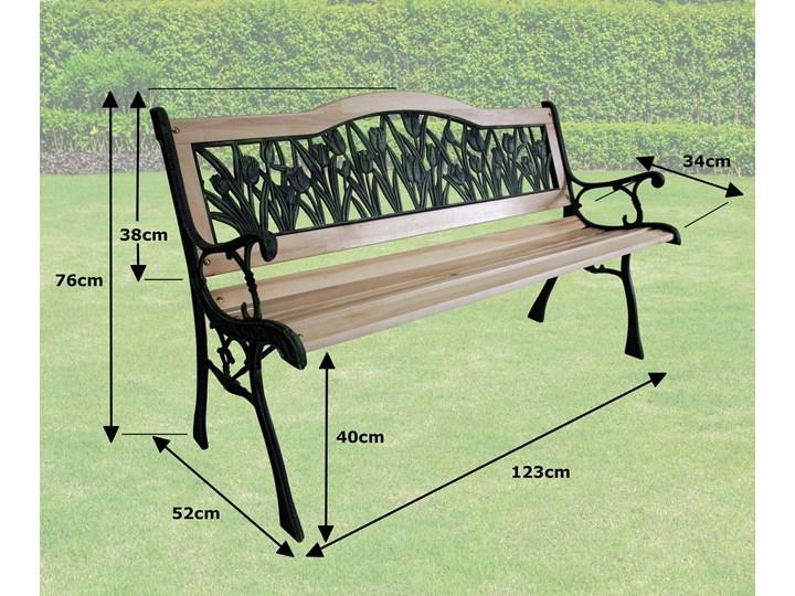 Ławka ogrodowa żeliwna TULIP Tworzywo sztuczne Drewno Z oparciem Długość 120 cm Kolor Czarny