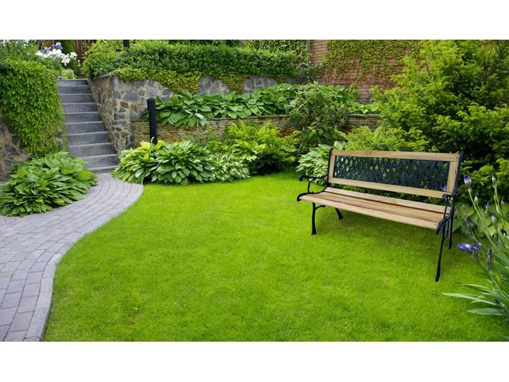 Ławka ogrodowa żeliwna KARO Tworzywo sztuczne Długość 120 cm Kolor Czarny Z oparciem Drewno Styl Klasyczny