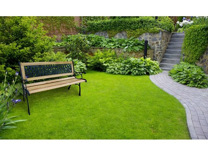 Ławka ogrodowa żeliwna KARO Długość 120 cm Z oparciem Tworzywo sztuczne Drewno Styl Klasyczny