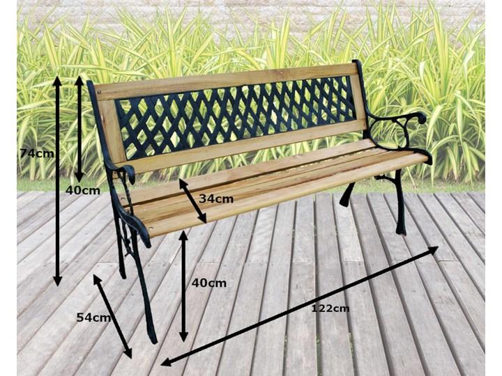 Ławka ogrodowa żeliwna KARO Tworzywo sztuczne Z oparciem Drewno Długość 120 cm Kolor Czarny