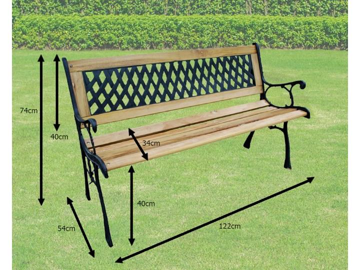 Ławka ogrodowa żeliwna KARO Długość 120 cm Drewno Z oparciem Tworzywo sztuczne Styl Klasyczny Kategoria Ławki ogrodowe