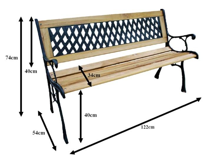Ławka ogrodowa żeliwna KARO Tworzywo sztuczne Drewno Z oparciem Długość 120 cm Kolor Czarny