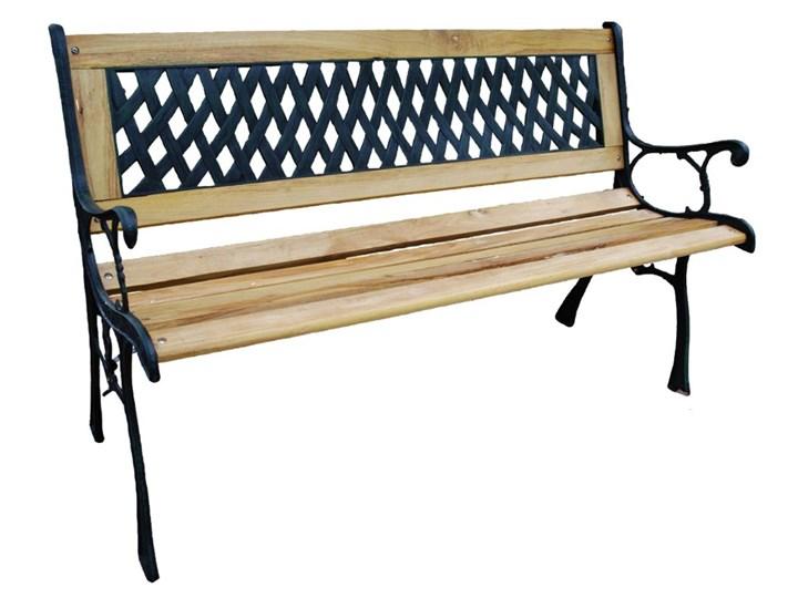 Ławka ogrodowa żeliwna KARO Drewno Długość 120 cm Tworzywo sztuczne Kolor Czarny Z oparciem Kategoria Ławki ogrodowe