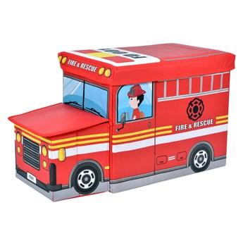 Pufa pojemnik wóz strażacki - czerwony