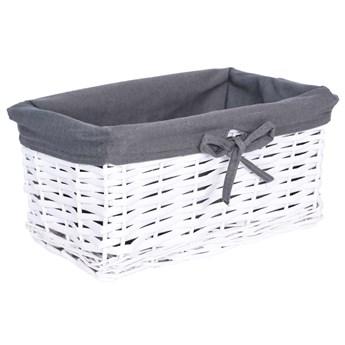 Koszyk wiklinowy 30x20x15 cm - biało-szary