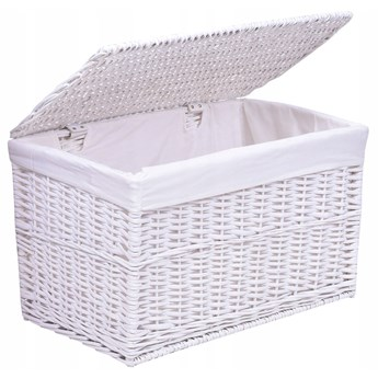 Kufer wiklinowy 56x34x34 cm - 65L - biały