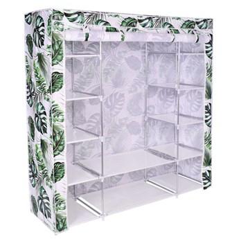 Szafka tekstylna z 12 półkami KAJA MIDI LEAVES- biało-zielona
