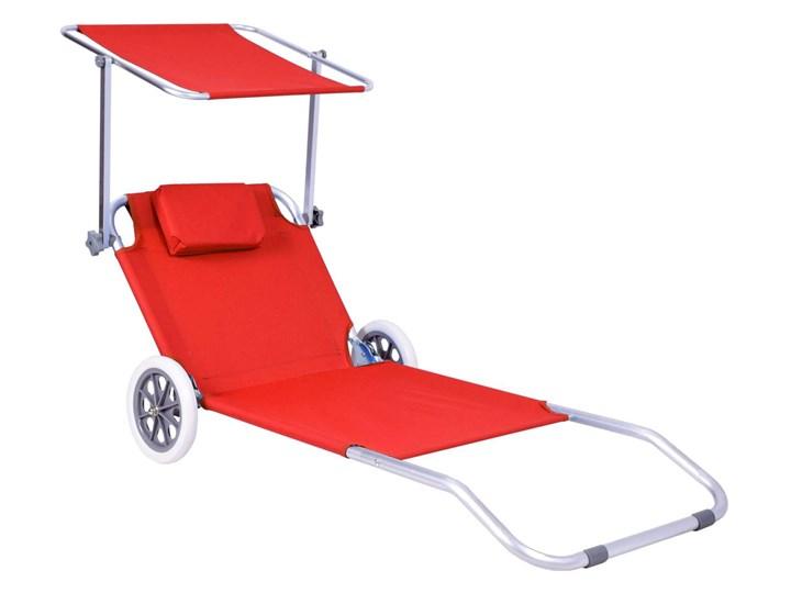 Leżak plażowy z kółkami Martin - RED Z regulowanym oparciem Aluminium Kategoria Leżaki ogrodowe Na kółkach Kolor Czerwony