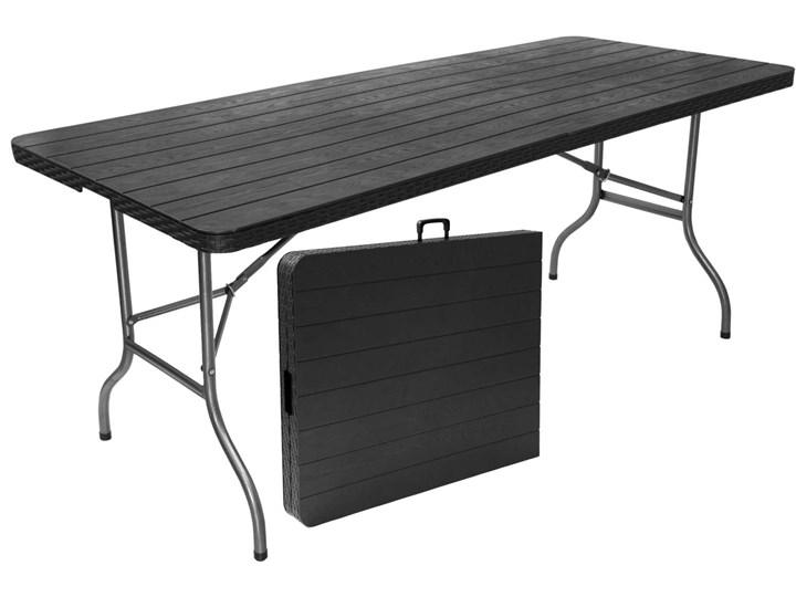 Stół cateringowy WOODY składany w walizkę - 180 cm - grafitowy Tworzywo sztuczne Metal Kolor Czarny