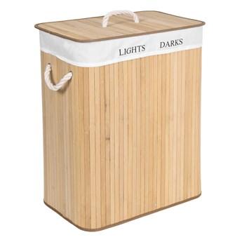 Kosz bambusowy na pranie 100L 2 komory naturalny