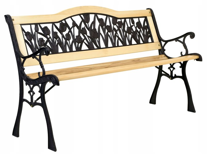 Ławka ogrodowa żeliwna TULIP Kategoria Ławki ogrodowe Z oparciem Długość 120 cm Tworzywo sztuczne Drewno Styl Klasyczny
