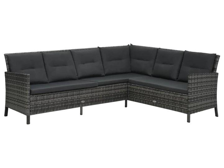vidaXL 4-cz. zestaw wypoczynkowy do ogrodu, poduszki, rattan PE, szary Zestawy wypoczynkowe Stoły z krzesłami Stal Tworzywo sztuczne Zawartość zestawu Puf