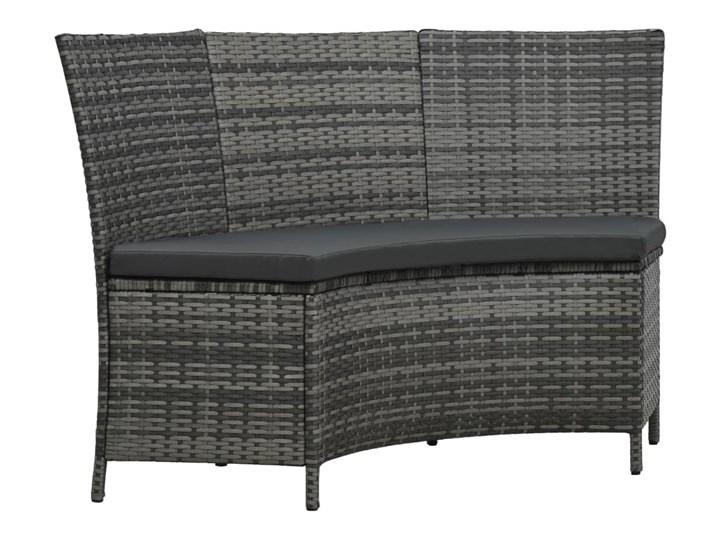 vidaXL 7-cz. zestaw mebli ogrodowych z poduszkami, rattan PE, szary Stal Tworzywo sztuczne Stoły z krzesłami Kolor Czarny