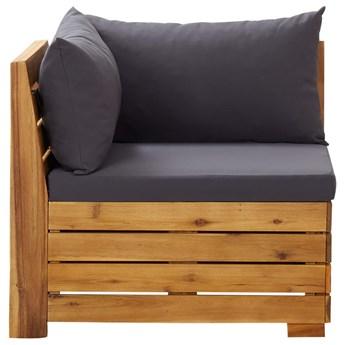 vidaXL Moduł sofy narożnej, 1 szt., z poduszkami, lite drewno akacjowe