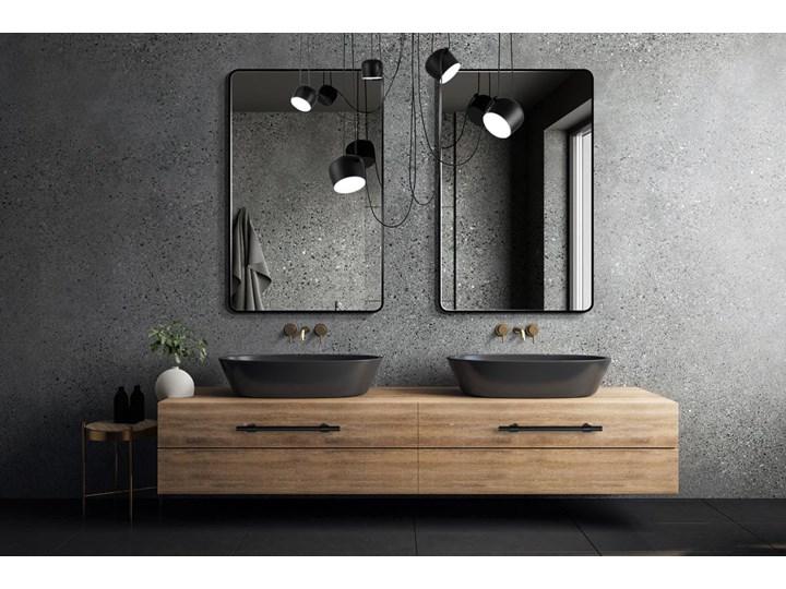 Lustro Billet – czarne z zaokrąglonymi rogami Styl Skandynawski Prostokątne Lustro z ramą Ścienne Pomieszczenie Przedpokój