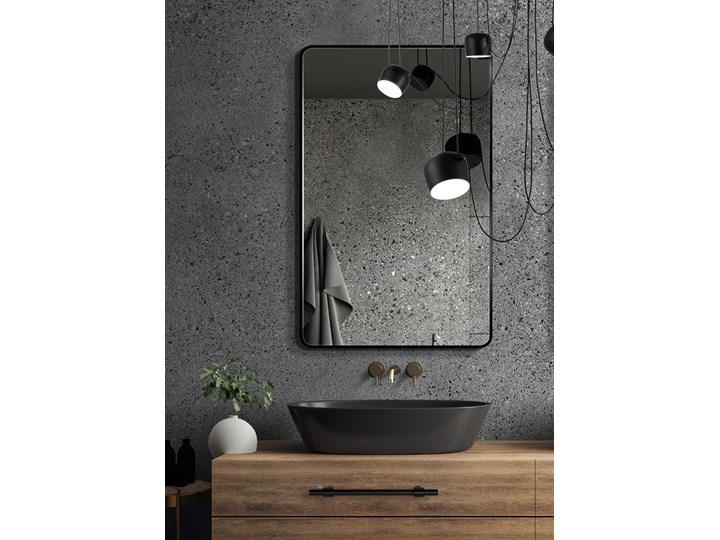 Lustro Billet – czarne z zaokrąglonymi rogami Lustro z ramą Ścienne Prostokątne Styl Skandynawski