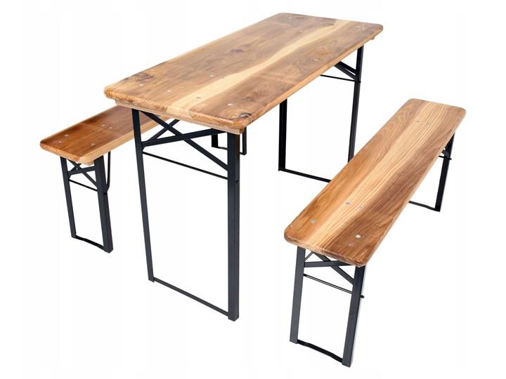 Zestaw ogrodowy stół 120 cm + 2 ławki