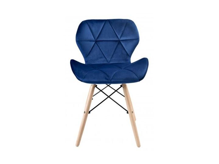 Krzesło aksamitne K-MURET VELVET DSW  granatowe Metal Styl Skandynawski Głębokość 38 cm Wysokość 45 cm Wysokość 32 cm Drewno Szerokość 45 cm Wysokość 72 cm Kolor Granatowy
