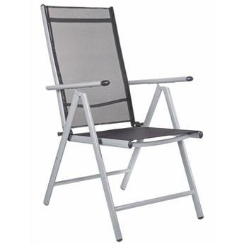 Składane krzesło ogrodowe aluminium szaro czarne na balkon