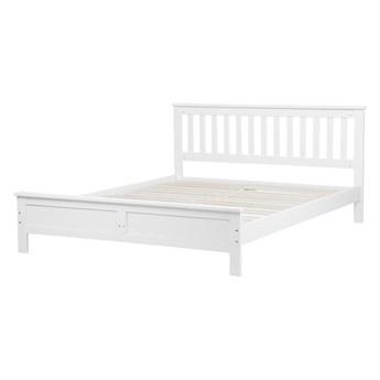 Łóżko ze stelażem białe drewniana rama 160 x 200 cm niskie wezgłowie minimalistyczny design
