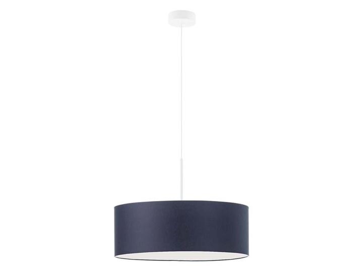 Lampa wisząca do kuchni nad stół SINTRA fi - 50 cm - kolor granatowy WYSYŁKA 24H Tkanina Lampa z abażurem Metal Beton Żyrandol Lampa LED Styl Klasyczny