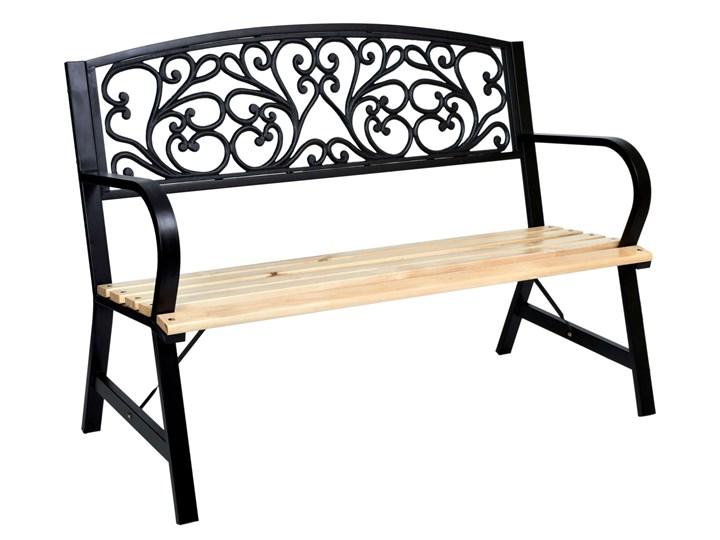 Ławka ogrodowa stalowo-żeliwna TITO Kolor Czarny Drewno Kolor Beżowy