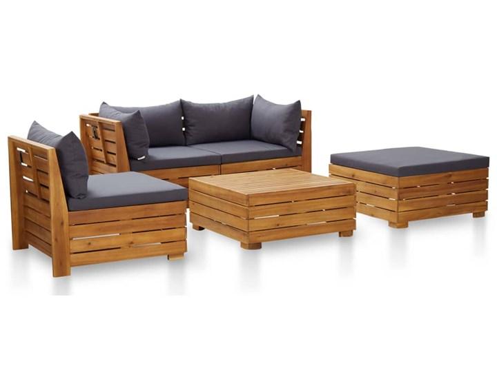 vidaXL 5-cz. zestaw mebli ogrodowych + poduszki, akacjowy, ciemnoszary