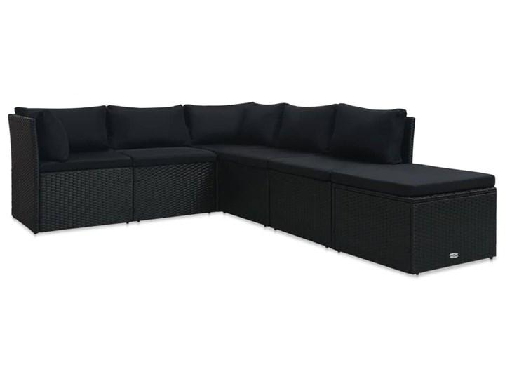 vidaXL 4-cz. zestaw wypoczynkowy do ogrodu, poduszki, czarny rattan PE Stal Technorattan Tworzywo sztuczne Zestawy wypoczynkowe Kategoria Zestawy mebli ogrodowych