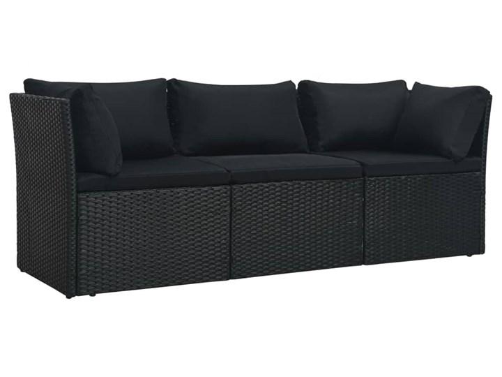 vidaXL 4-cz. zestaw wypoczynkowy do ogrodu, poduszki, czarny rattan PE Tworzywo sztuczne Technorattan Zestawy wypoczynkowe Stal Kategoria Zestawy mebli ogrodowych