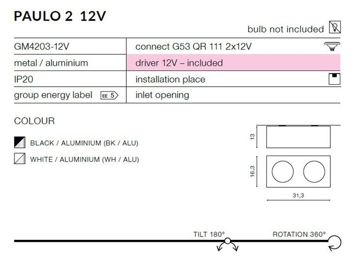 Paulo 2 12V Prostokątne Kategoria Oprawy oświetleniowe Oprawa stropowa Oprawa led Kolor Biały