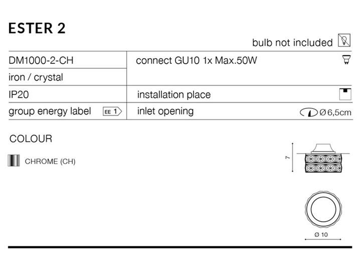 ESTER 2 Kategoria Oprawy oświetleniowe Oprawa stropowa Okrągłe Oprawa led Kolor Srebrny