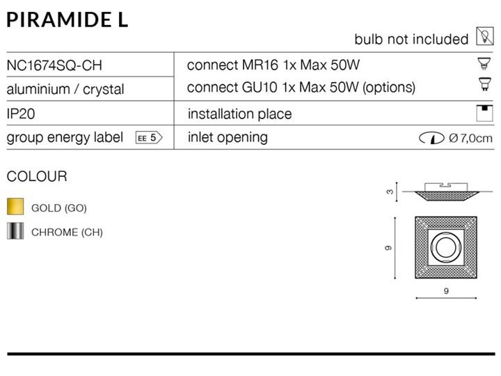 PIRAMIDE L Oprawa stropowa Kategoria Oprawy oświetleniowe Oprawa led Kwadratowe Kolor Srebrny