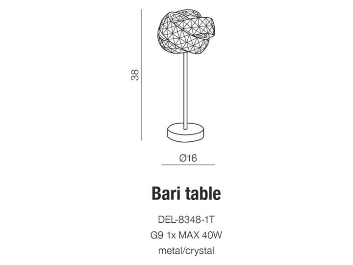 BARI TABLE Lampa dekoracyjna Lampa z kloszem Wysokość 38 cm Kategoria Lampy stołowe Kolor Srebrny