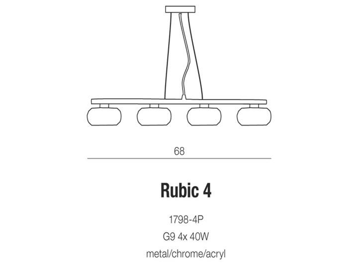 Lampa wisząca Rubic 4 Metal Szkło Lampa z kloszem Ilość źródeł światła 4 źródła