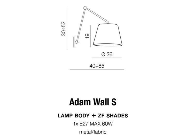ADAM WALL S Metal Kinkiet z kloszem Kinkiet LED Kinkiet z regulacją Kategoria Lampy ścienne