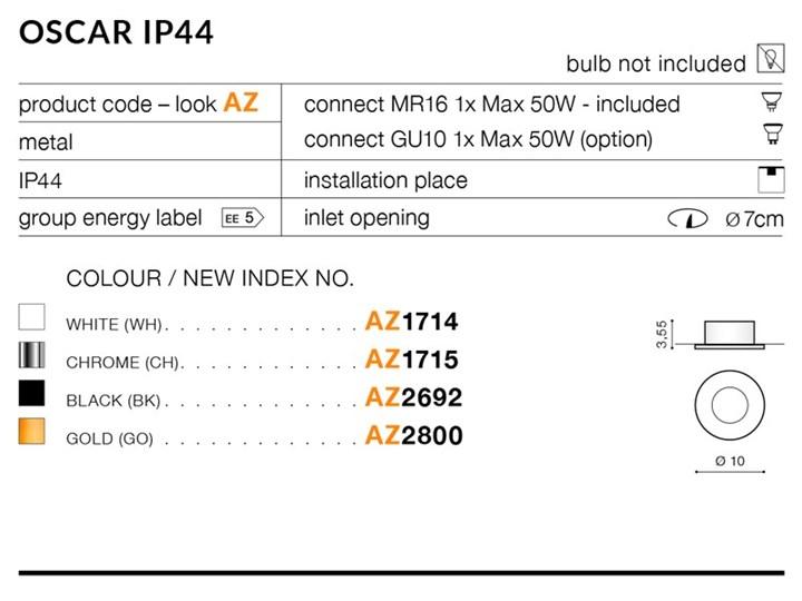 OSCAR IP44 Okrągłe Oprawa led Oprawa stropowa Kategoria Oprawy oświetleniowe