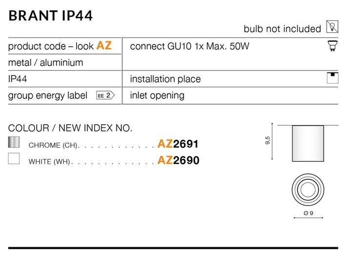 BRANT ROUND IP44 Oprawa led Oprawa stropowa Okrągłe Kategoria Oprawy oświetleniowe Kolor Biały