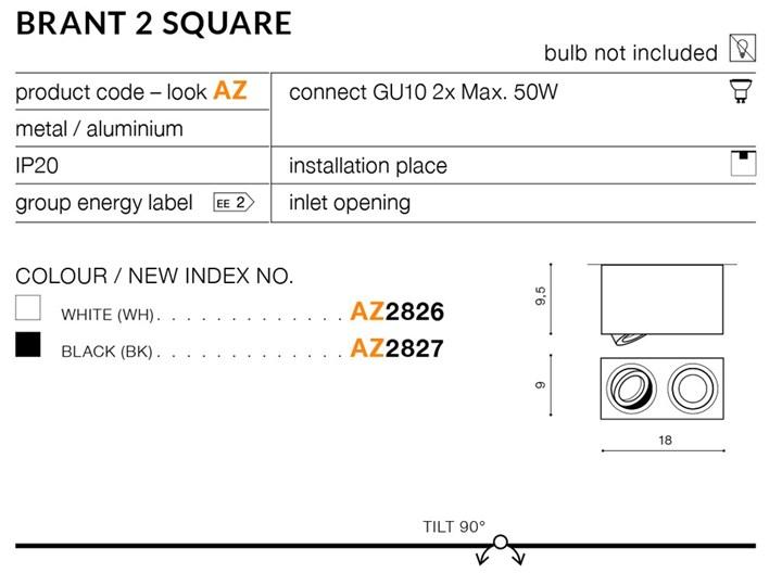 BRANT 2 SQUARE Oprawa led Kategoria Oprawy oświetleniowe Oprawa stropowa Prostokątne Kolor Czarny