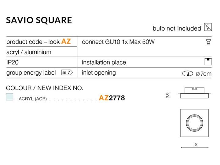 SAVIO SQUARE Kwadratowe Oprawa led Oprawa stropowa Kategoria Oprawy oświetleniowe