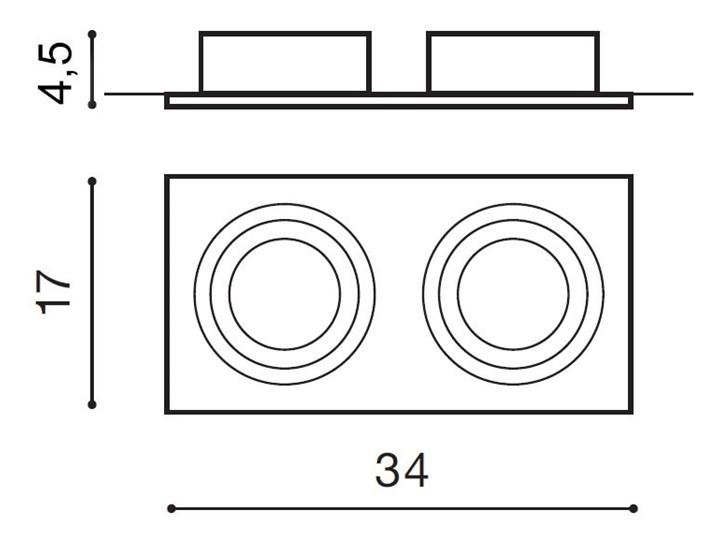 Siro 2 Kategoria Oprawy oświetleniowe Prostokątne Oprawa wpuszczana Oprawa stropowa Kolor Czarny