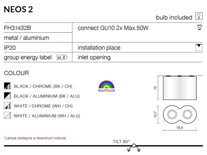 Lampa natynkowa Neos 2 Nieregularne Kategoria Oprawy oświetleniowe Oprawa halogenowa Oprawa stropowa Kolor Czarny