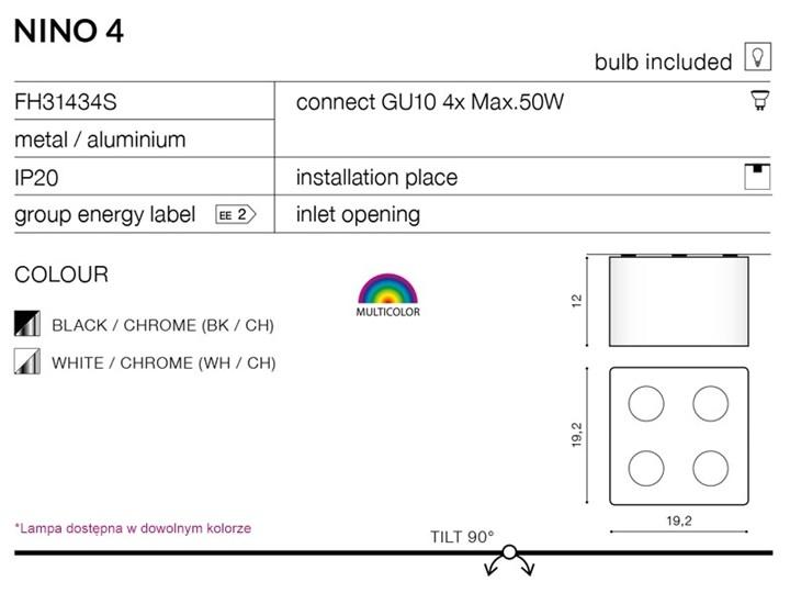 Lampa techniczna Nino 4 Oprawa led Oprawa stropowa Kwadratowe Kategoria Oprawy oświetleniowe