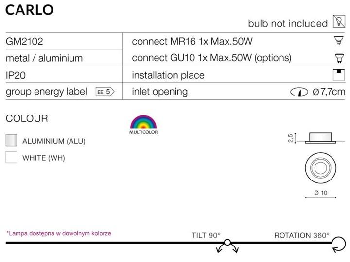 Lampa techniczna Carlo Oprawa stropowa Oprawa wpuszczana Okrągłe Kategoria Oprawy oświetleniowe